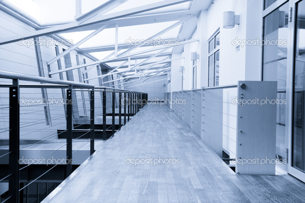 Empty corridor in modern office building